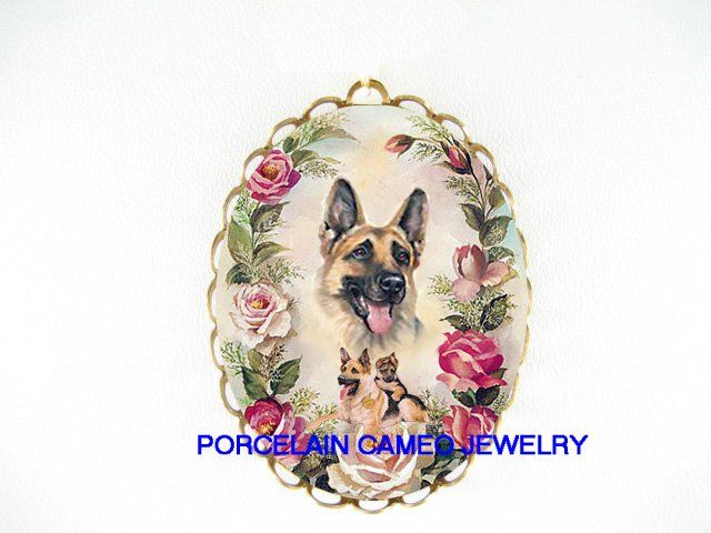 GERMAN SHEPHERD DOG MOM PUPPY ROSE PORCELAIN PIN PENDANT