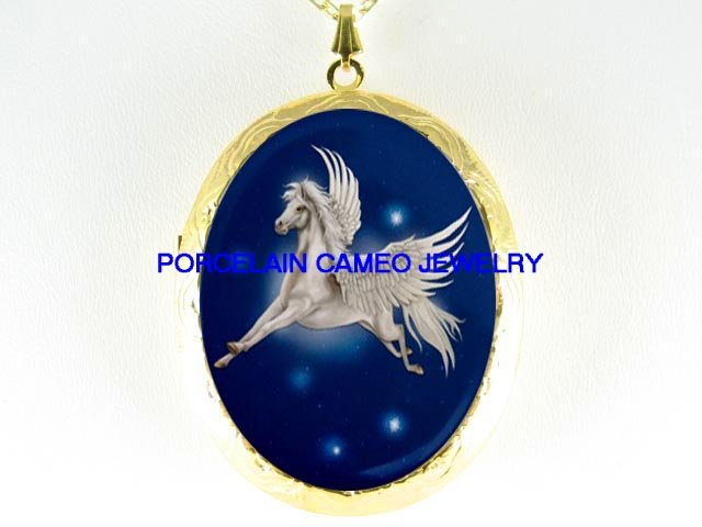 WHITE PEGASUS HORSE STAR CAMEO PORCELAIN LOCKET NECKLACE