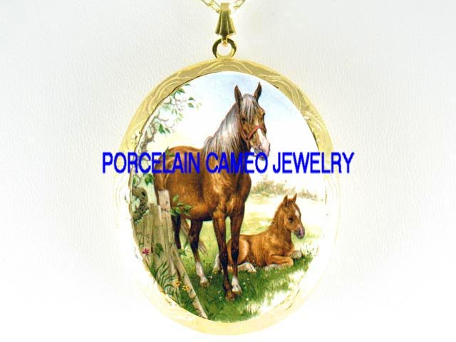 MARE FOAL HORSE CUDDLE PORCELAIN CAMEO LOCKET NECKLACE