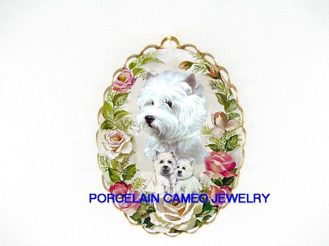 WESTIE DOG MOM PUPPY ROSE CAMEO PORCELAIN PIN PENDANT