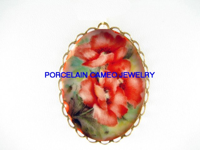 VICTORIAN POPPY POPPIES FLOWER*  CAMEO PORCELAIN PENDANT/PIN BROOCH