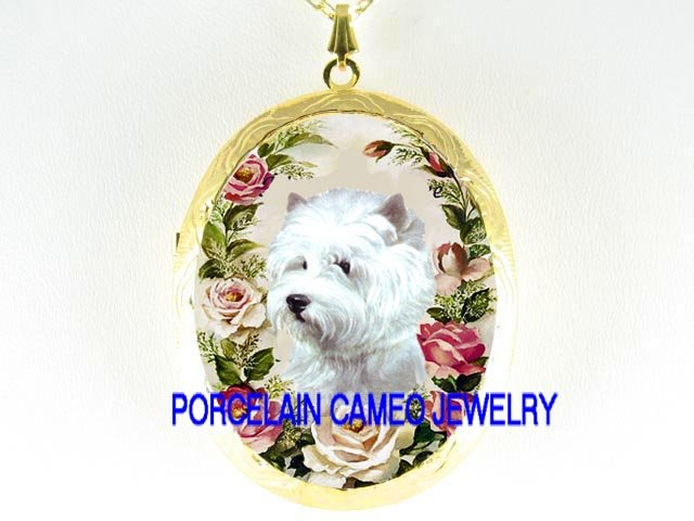WESTIE WHITE TERRIER DOG ROSE CAMEO PORCELAIN LOCKET