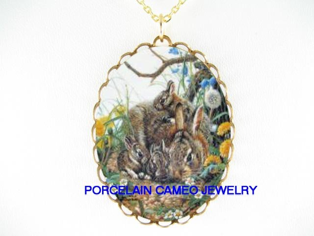RABBIT BUNNY MOM BABY CUDDLING TOGETHER*CAMEO PORCELAIN NECKLACE