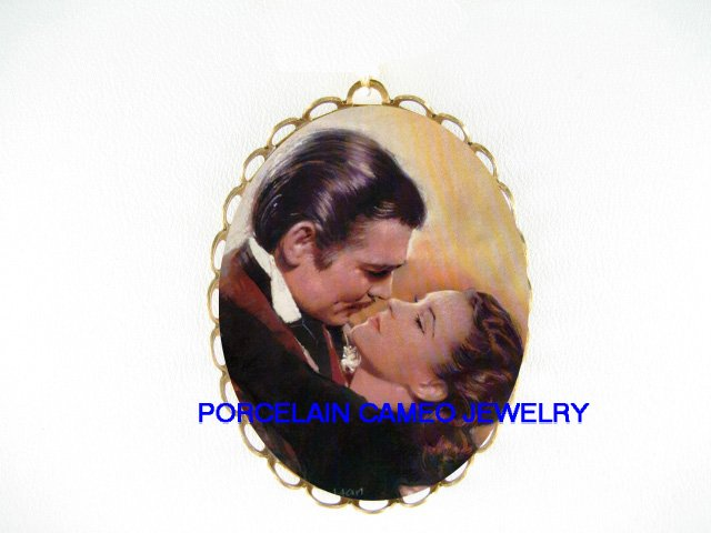 GONE WITH THE WIND PORCELAIN CAMEO PIN BROOCH PENDANT