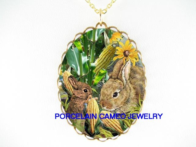 2 RABBIT BUNNY MOM BABY IN CORNFIELD EAT CORN PORCELAIN CAMEO NECKLACE