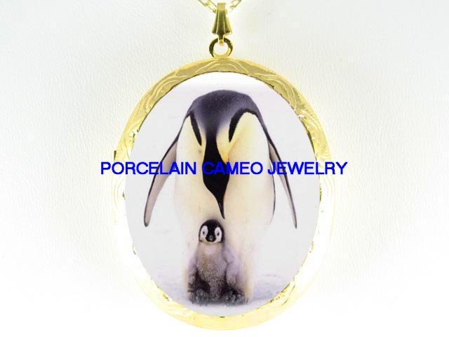 PENGUIN MOM CUDDLING BABY*  CAMEO PORCELAIN LOCKET NECKLACE