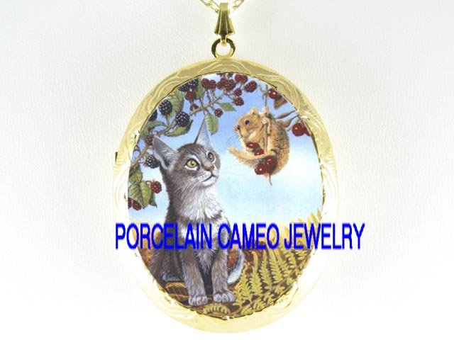KITTY CAT SQUIRREL BERRY PORCELAIN CAMEO LOCKET NECKLACE