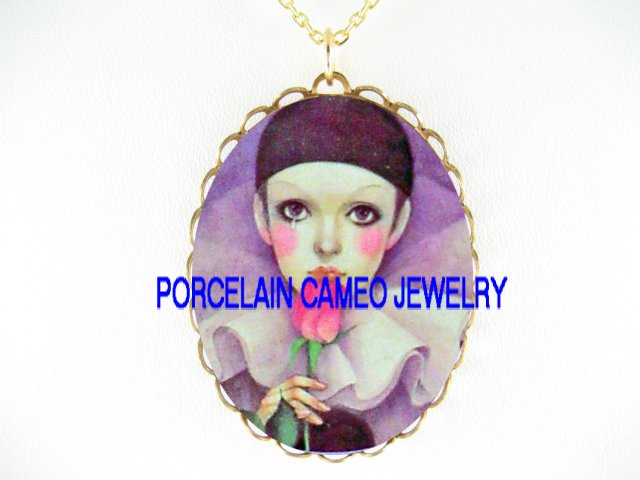 FRENCH PIERROT KISSING ROSE*CAMEO PORCELAIN NECKLACE