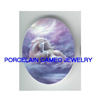 UNICORN HORSE MOM CUDDLING BABY MARE FOAL* UNSET CAMEO PORCELAIN CABOCHON