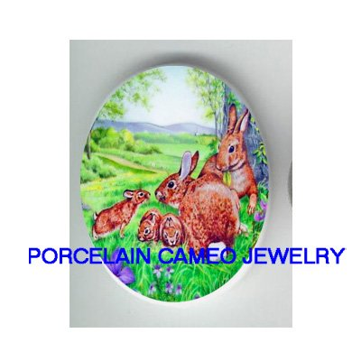 5 RABBIT BUNNY FAMILY IN THE FILED* UNSET CAMEO PORCELAIN CABOCHON