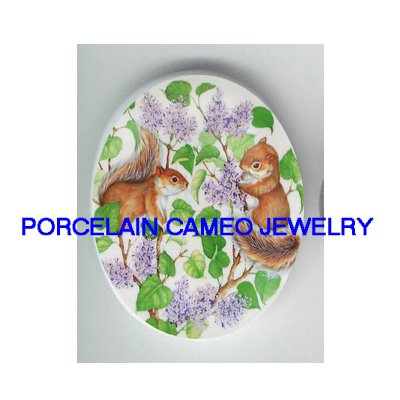2 SQUIRREL HYDRANGEA  UNSET CAMEO PORCELAIN CABOCHON