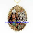 WHITE TIGER WITH EGYPT QUEEN *CAMEO PORCELAIN NECKLACE