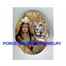 WHITE TIGER WITH EGYPT QUEEN UNSET CAMEO PORCELAIN CABOCHON