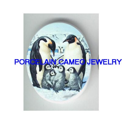 6 HAPPY PENGUIN FAMILY  * UNSET CAMEO PORCELAIN CABOCHON