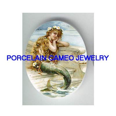 VICTORIAN MERMAID BY THE SEA UNSET CAMEO PORCELAIN CABOCHON