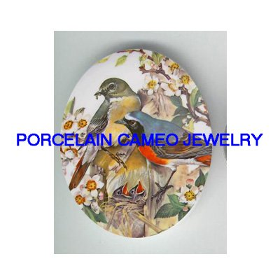 2 ROBIN BABY BIRD FAMILY NEST UNSET CAMEO PORCELAIN CABOCHON
