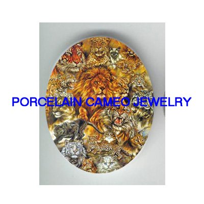 TIGER LION LEOPARD CAT COLLAGE  UNSET PORCELAIN CAMEO