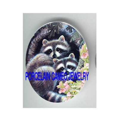 2 CUDDLING RACCOON FLOWER  * UNSET CAMEO PORCELAIN CABOCHON