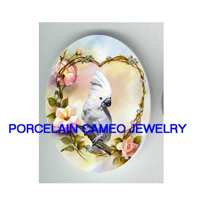 COCKATOO COCKATIEL BIRD ROSE HEART UNSET CAMEO PORCELAIN CABOCHON