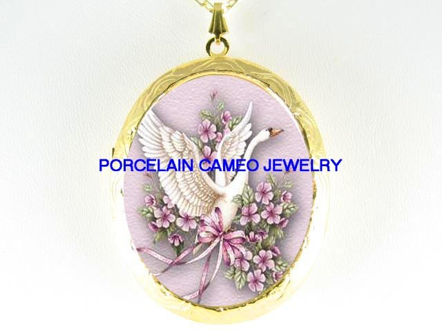 SWAN FORGET ME NOT*  CAMEO PORCELAIN LOCKET NECKLACE