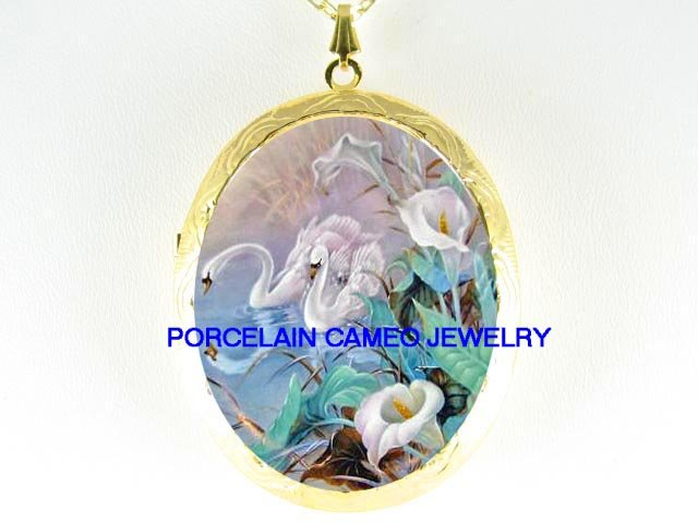2 SWAN CALLA LILY*  CAMEO PORCELAIN LOCKET NECKLACE