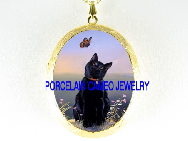 BLACK CAT CHASING BUTTERFLY *  CAMEO PORCELAIN LOCKET NECKLACE