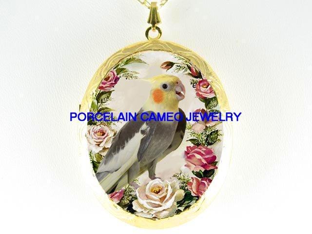 COCKATOO BIRD SPRING ROSE  *  CAMEO PORCELAIN LOCKET NECKLACE