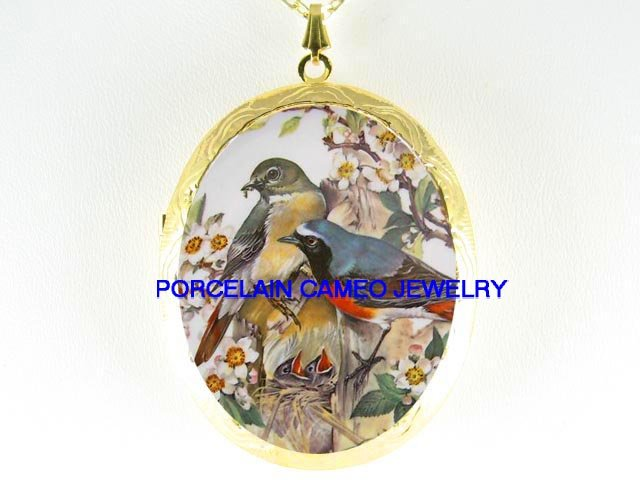 4 ROBIN BIRD FAMILY APPLE BLOSSOMS  *  CAMEO PORCELAIN LOCKET NECKLACE