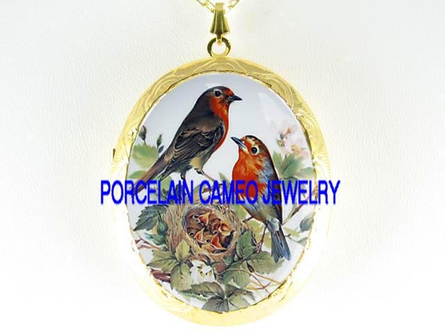 6 ROBIN BIRD FAMILY APPLE BLOSSOMS  *  CAMEO PORCELAIN LOCKET NECKLACE