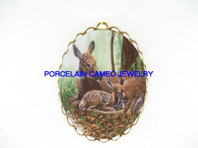 DEER CUDDLING FAWN UNSET CAMEO PORCELAIN PIN PENDANT BROOCH
