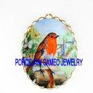 SPRING ROBIN BIRD *  CAMEO PORCELAIN PENDANT/PIN BROOCH