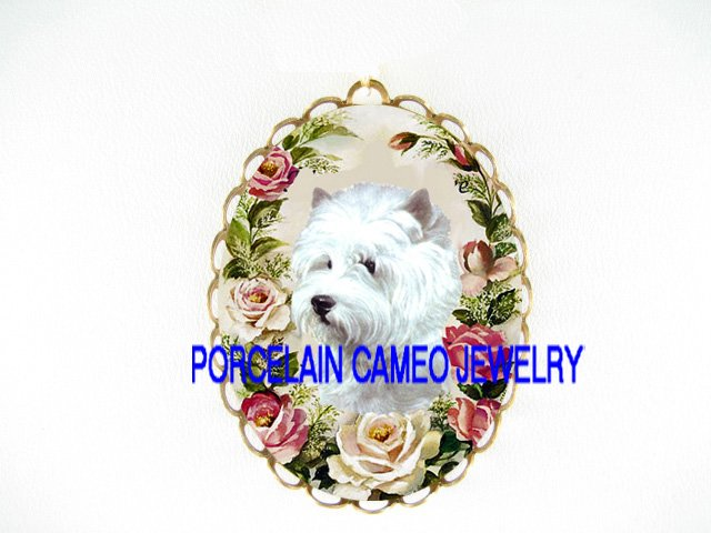 WESTIE WHITE TERRIER DOG ROSE *  CAMEO PORCELAIN PENDANT/PIN BROOCH