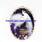 2 WHITE PEACOCK BIRD*  CAMEO PORCELAIN PENDANT/PIN BROOCH