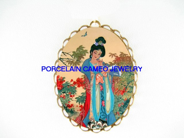 ORIENTAL LADY READ BOOK BUTTERFLY  CAMEO PORCELAIN PIN PENDANT BROOCH