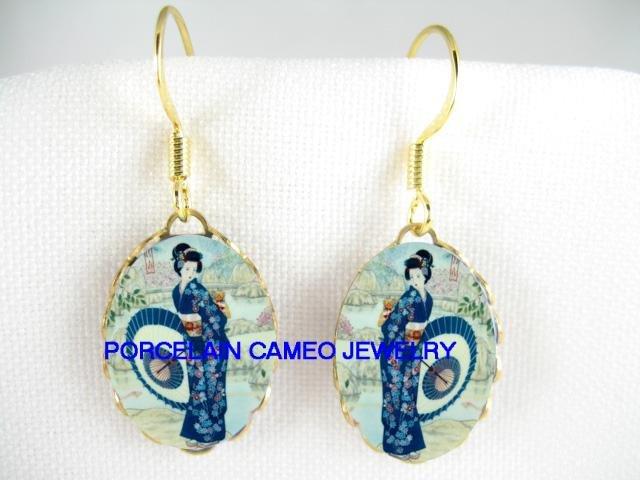 JAPANESE GEISHA WITH UMBRELLA CAMEO PORCELAIN EARRINGS