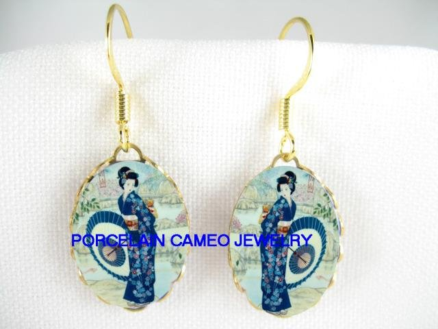 JAPANESE GEISHA WITH UMBRELLA CAMEO PORCELAIN EARRINGS