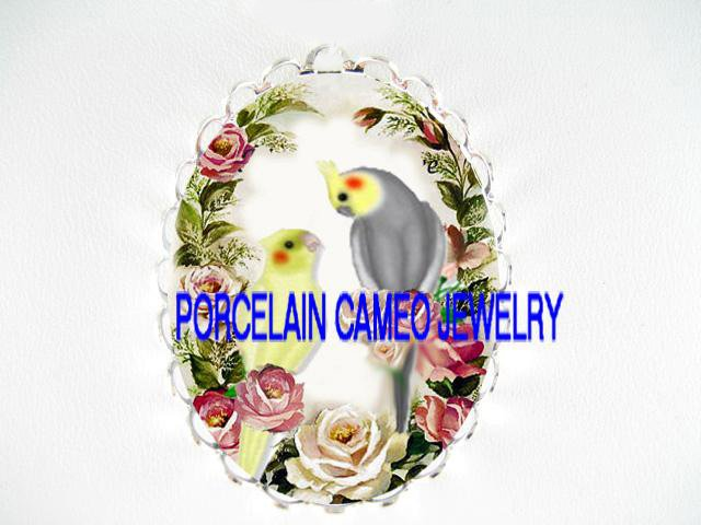 2 COCKATOO COCKATIEL ROSE CAMEO PORCELAIN PENDANT PIN