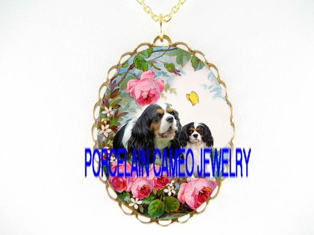 CAVALIER KING CHARLES SPANIEL DOG MOM PUPPY ROSE BUTTERFLY *CAMEO PORCELAIN NECKLACE