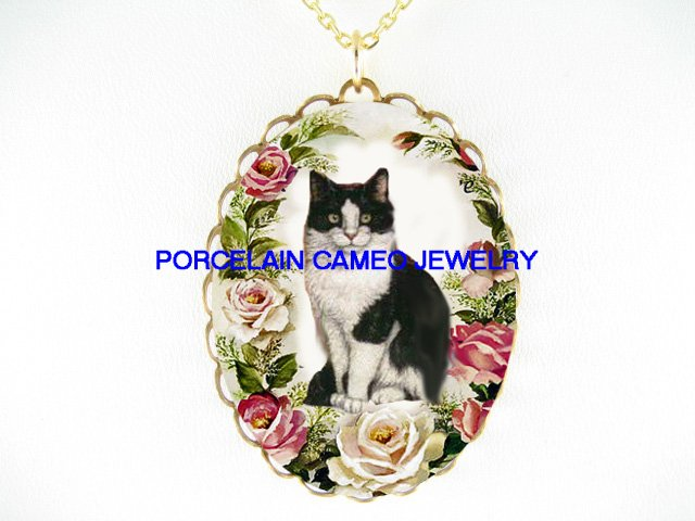 BLACK WHITE CAT VICTORIAN ROSE PORCELAIN CAMEO NECKLACE