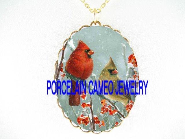 CARDINAL BIRD COUPLE FAMILY SNOW BERRY*CAMEO PORCELAIN NECKLACE