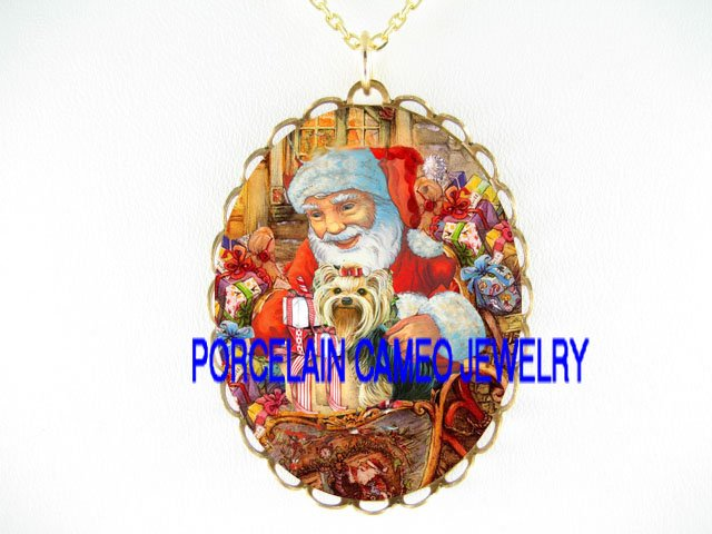 CHRISTMAS SANTA YORKSHIRE TERRIER DOG GIFT*CAMEO PORCELAIN NECKLACE