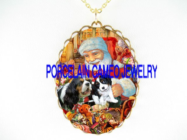 SANTA CAVALIER KING CHARLES SPANIEL DOG CHRISTMAS GIFT PORCELAIN CAMEO NECKLACE