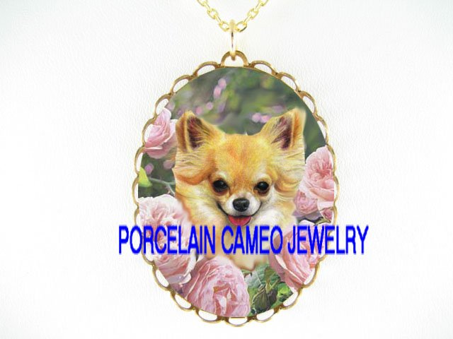 LONG HAIR CHIHUAHUA DOG ROSE PORCELAIN CAMEO NECKLACE
