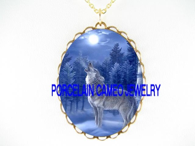 BLUE WOLF HOWLING MOON FOREST PORCELAIN CAMEO NECKLACE