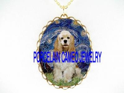 BUFF COCKER SPANIEL DOG VAN GOGH STARRY NIGHT*CAMEO PORCELAIN NECKLACE