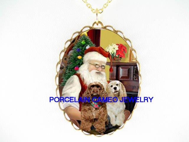 CHRISTMAS SANTA HOLD 2 BUFF BROWN COCKER SPANIEL DOG *CAMEO PORCELAIN NECKLACE