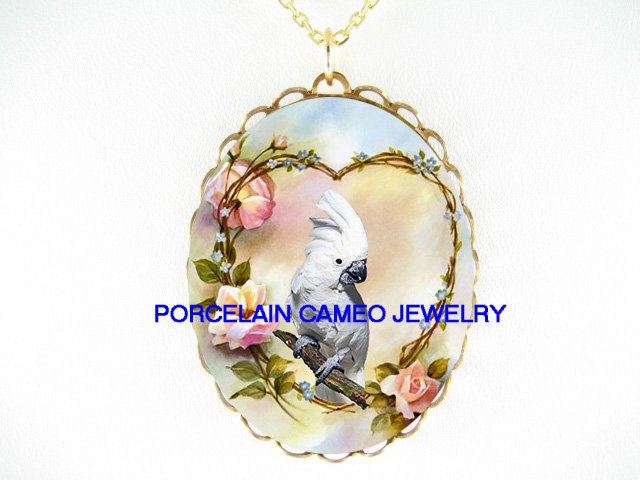 COCKATOO COCKATIEL BIRD ROSE HEART*CAMEO PORCELAIN NECKLACE