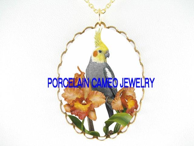 COCKATOO COCKATIEL BIRD ORCHID FLOWER*CAMEO PORCELAIN NECKLACE