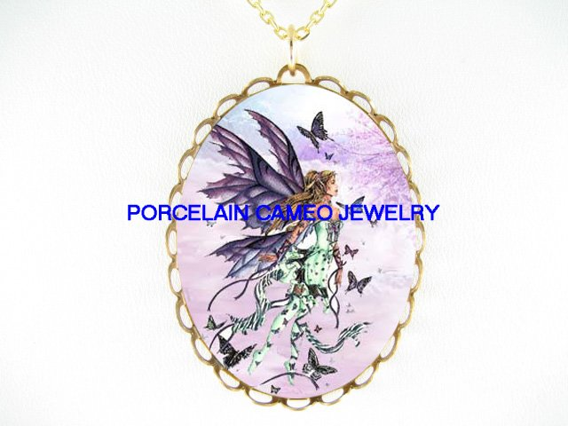 PURPLE BUTTERFLY FAIRY CHERRY BLOSSOMS*CAMEO PORCELAIN NECKLACE