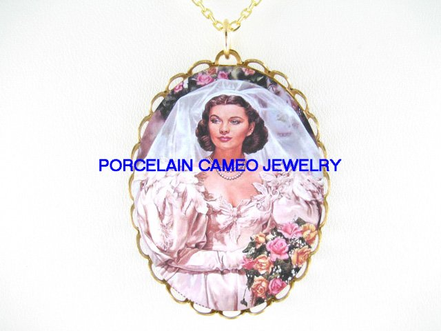 GONE WITH THE WIND ROSE BRIDE*CAMEO PORCELAIN NECKLACE